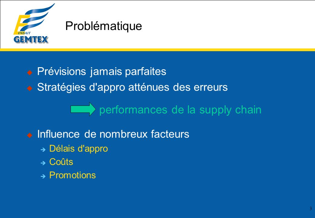 performances de la supply chain