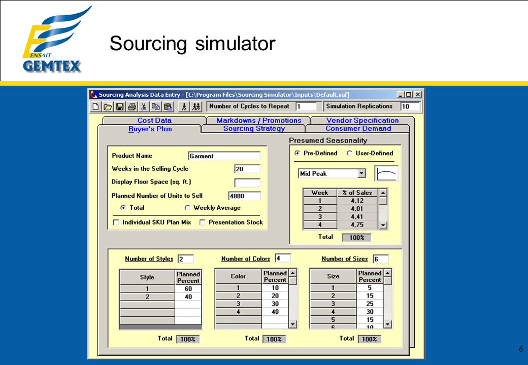 Sourcing simulator