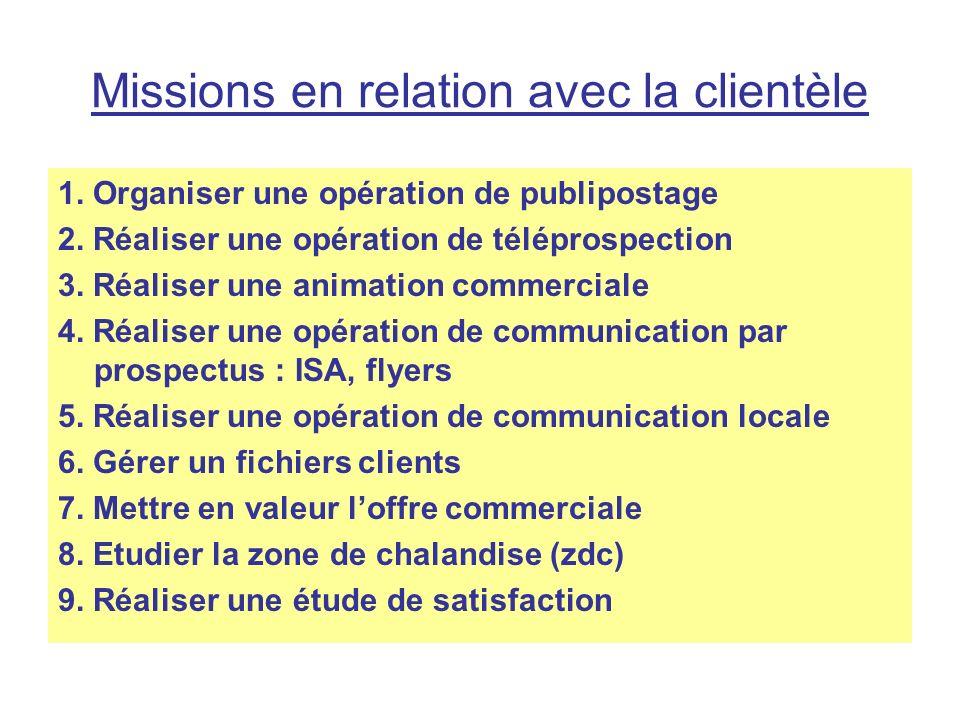 Missions en relation avec la clientèle