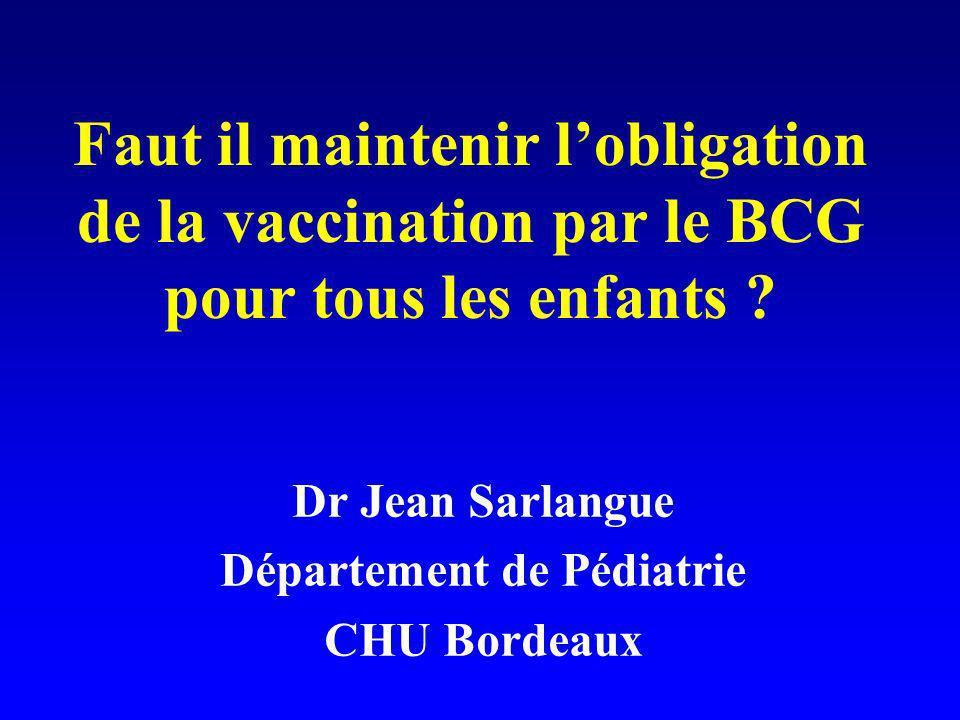 Dr Jean Sarlangue Département de Pédiatrie CHU Bordeaux