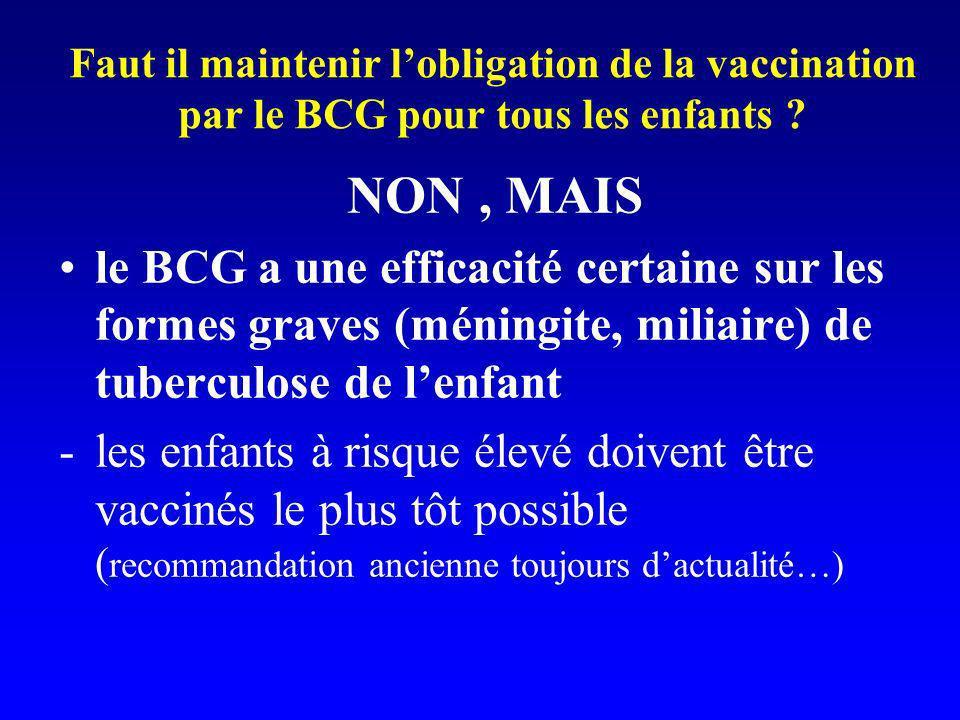 Faut il maintenir l'obligation de la vaccination par le BCG pour tous les enfants