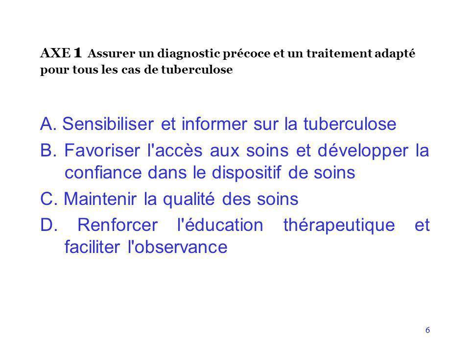 A. Sensibiliser et informer sur la tuberculose