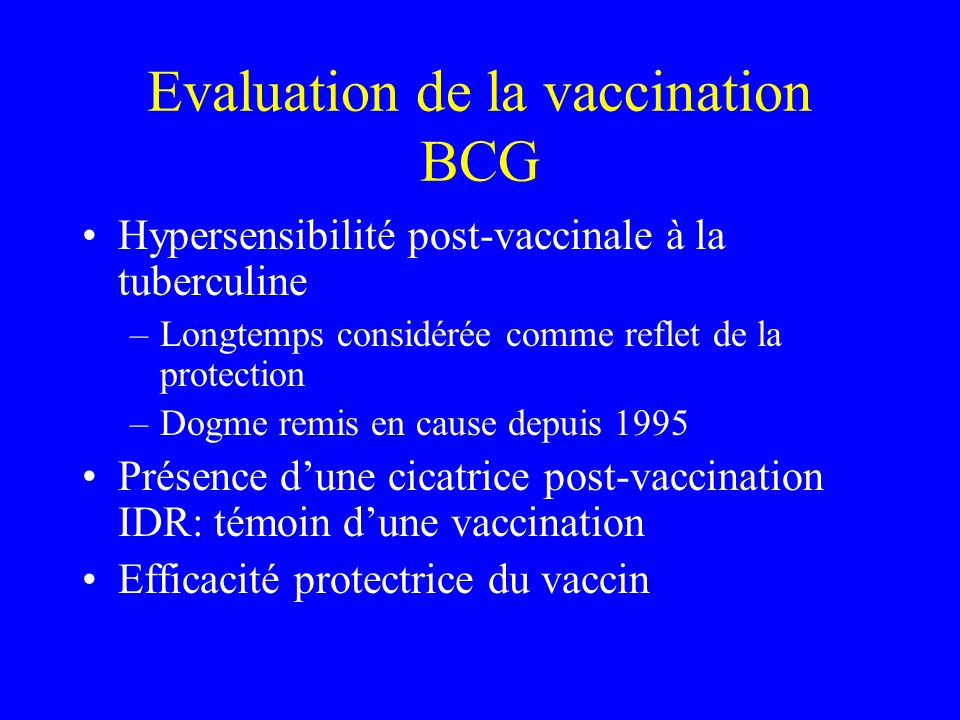Evaluation de la vaccination BCG