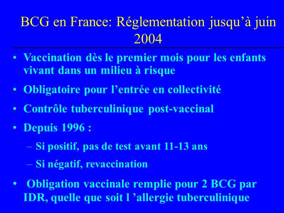BCG en France: Réglementation jusqu'à juin 2004