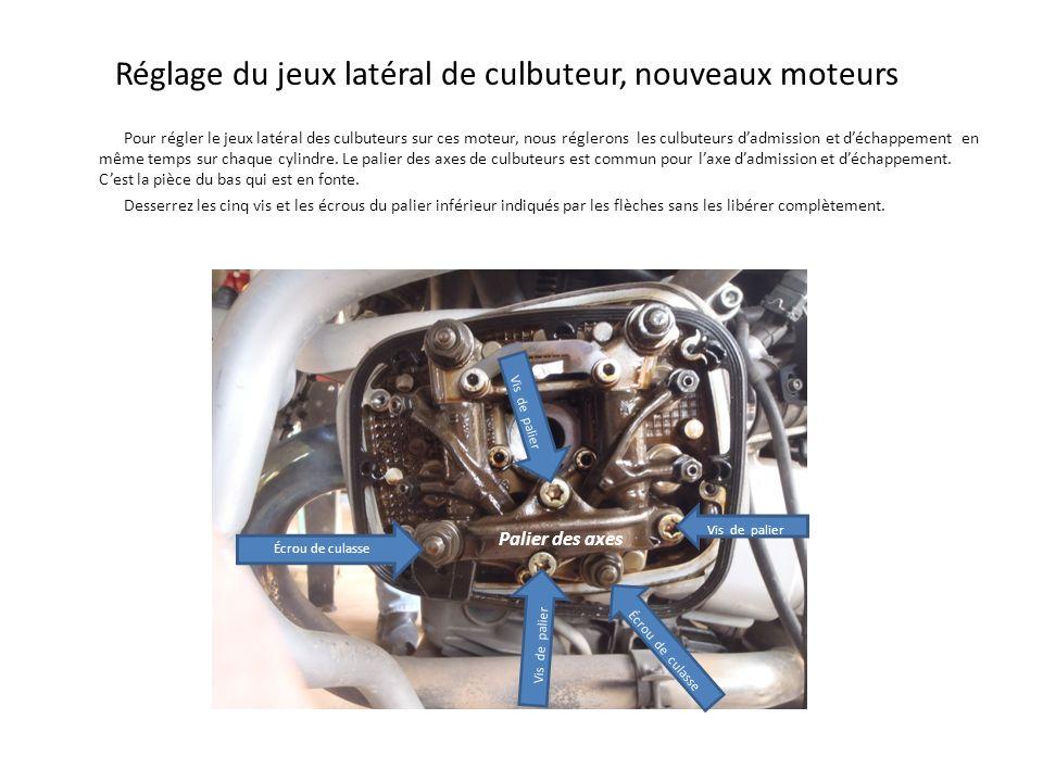 Réglage du jeux latéral de culbuteur, nouveaux moteurs