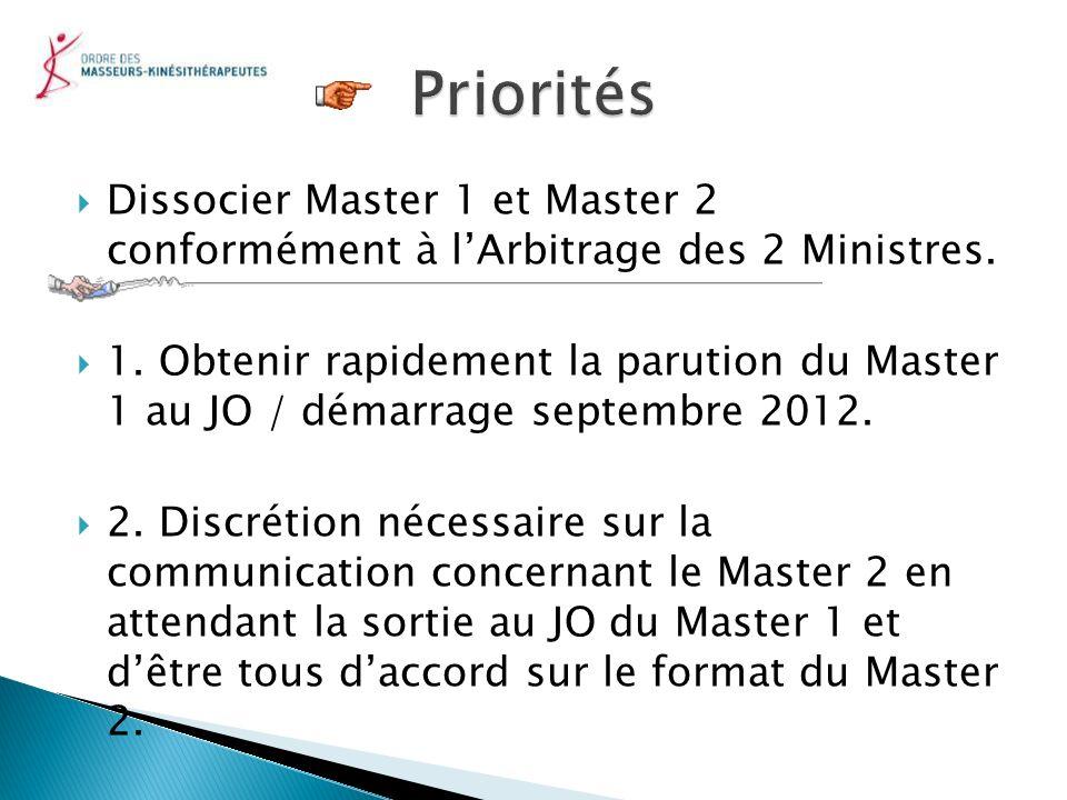 Priorités Dissocier Master 1 et Master 2 conformément à l'Arbitrage des 2 Ministres.
