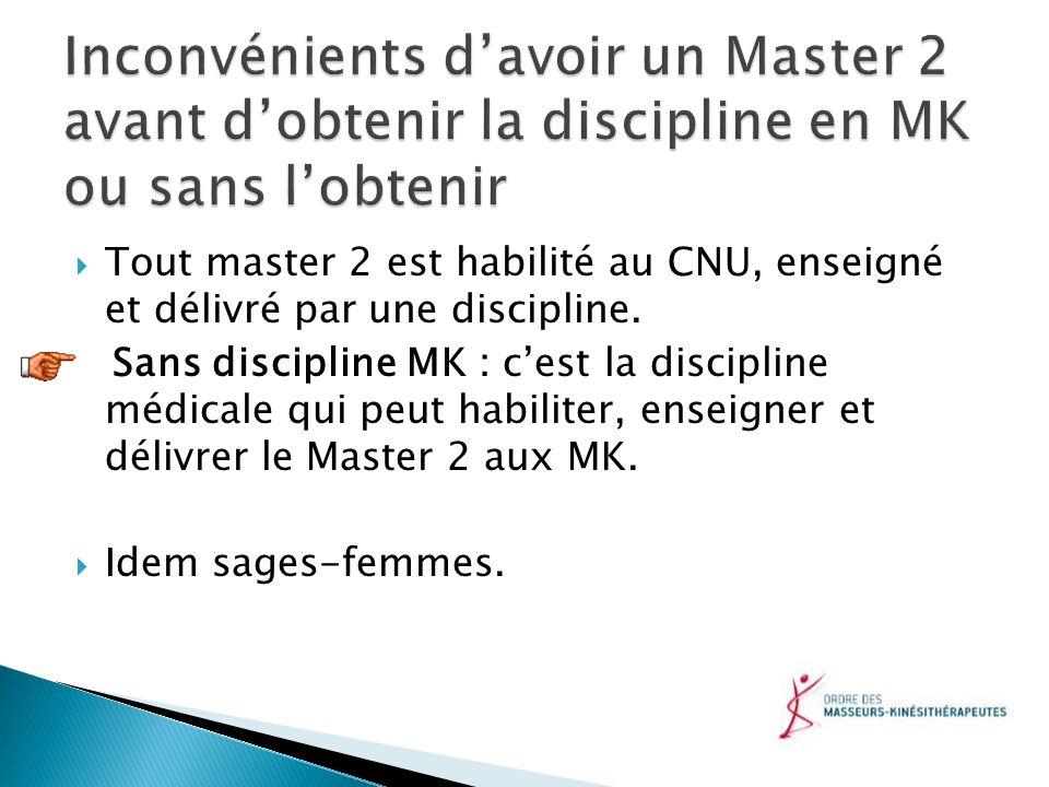 Inconvénients d'avoir un Master 2 avant d'obtenir la discipline en MK ou sans l'obtenir