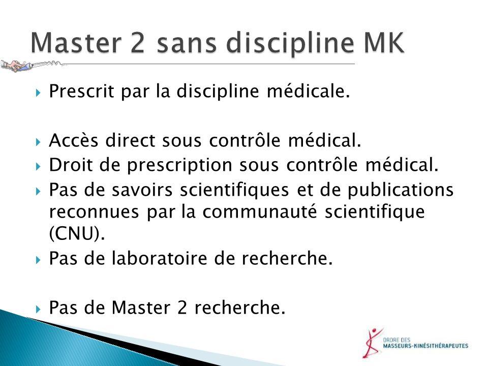 Master 2 sans discipline MK