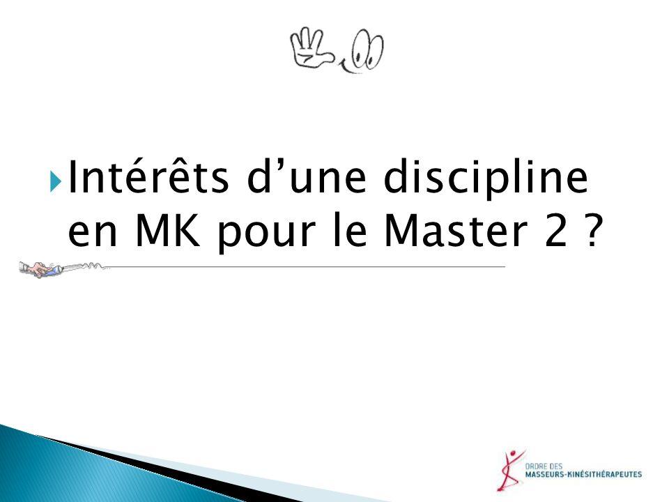 Intérêts d'une discipline en MK pour le Master 2
