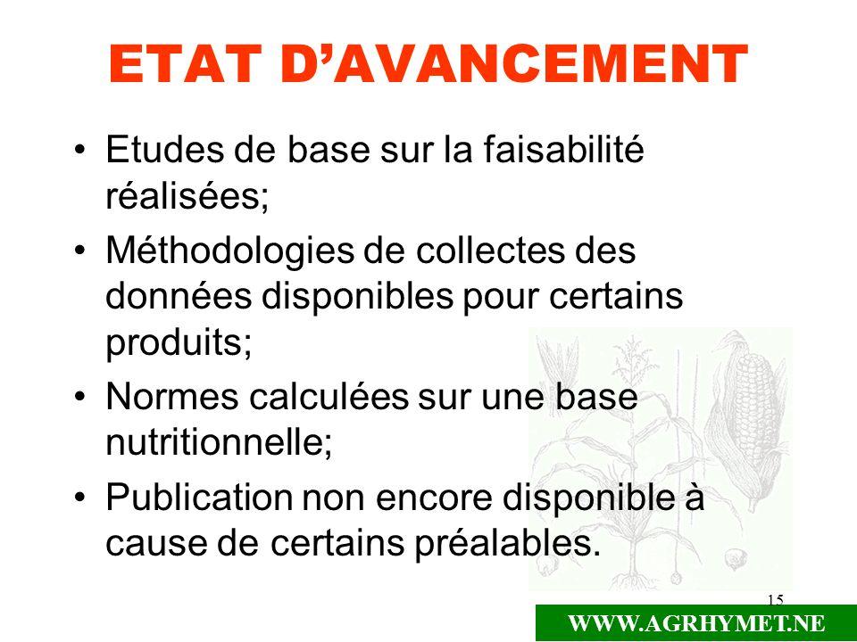ETAT D'AVANCEMENT Etudes de base sur la faisabilité réalisées;