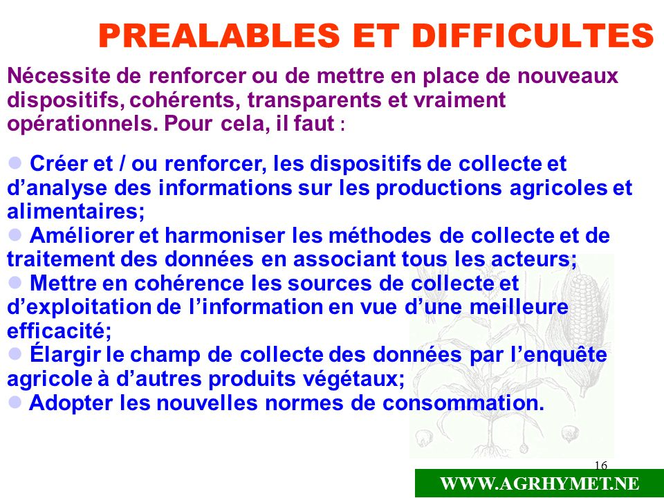 PREALABLES ET DIFFICULTES
