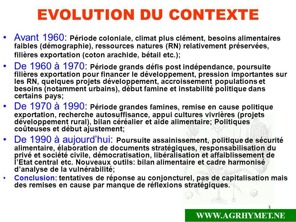 EVOLUTION DU CONTEXTE