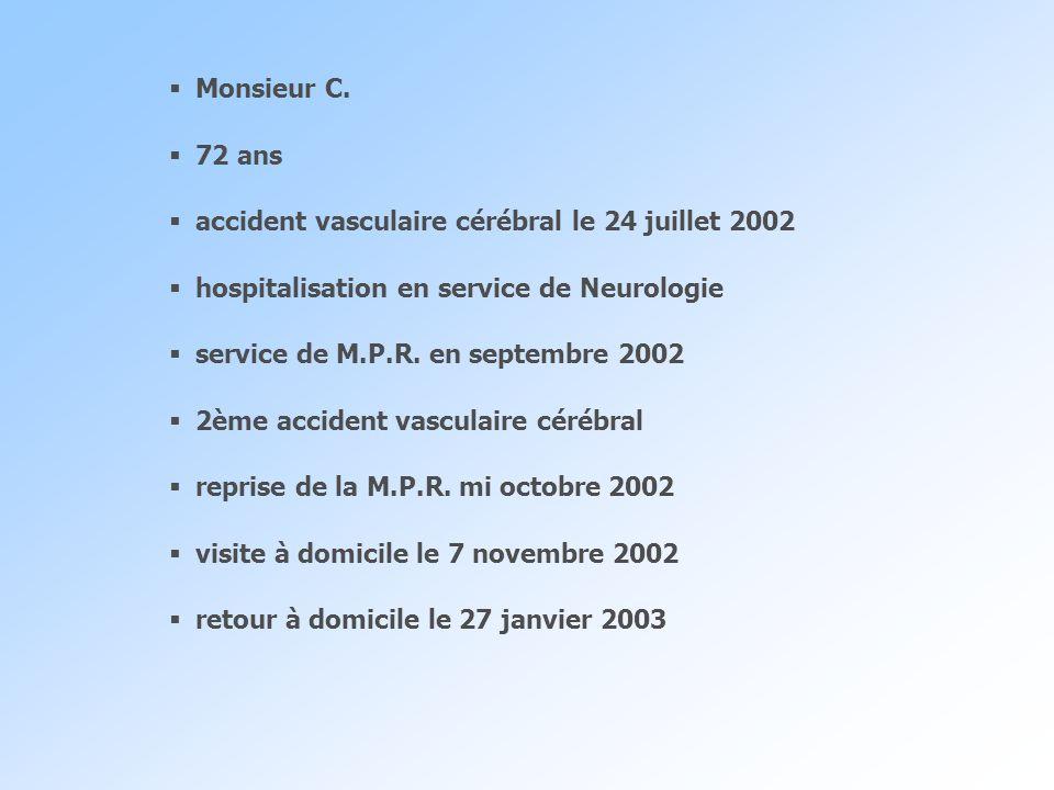 Monsieur C. 72 ans. accident vasculaire cérébral le 24 juillet 2002. hospitalisation en service de Neurologie.