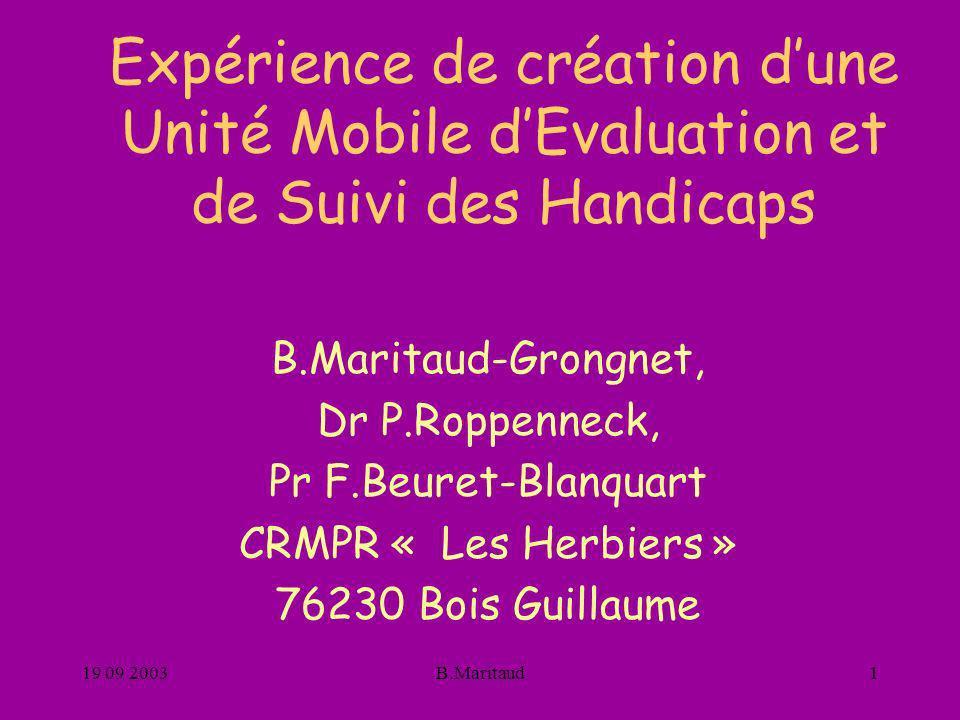 Expérience de création d'une Unité Mobile d'Evaluation et de Suivi des Handicaps