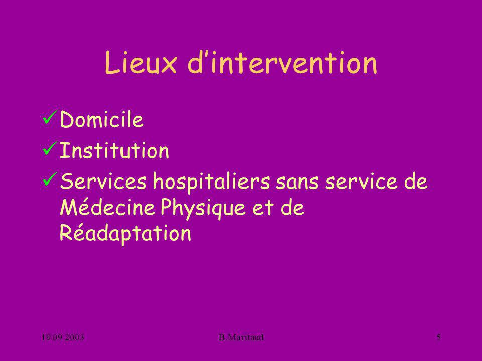 Lieux d'intervention Domicile Institution