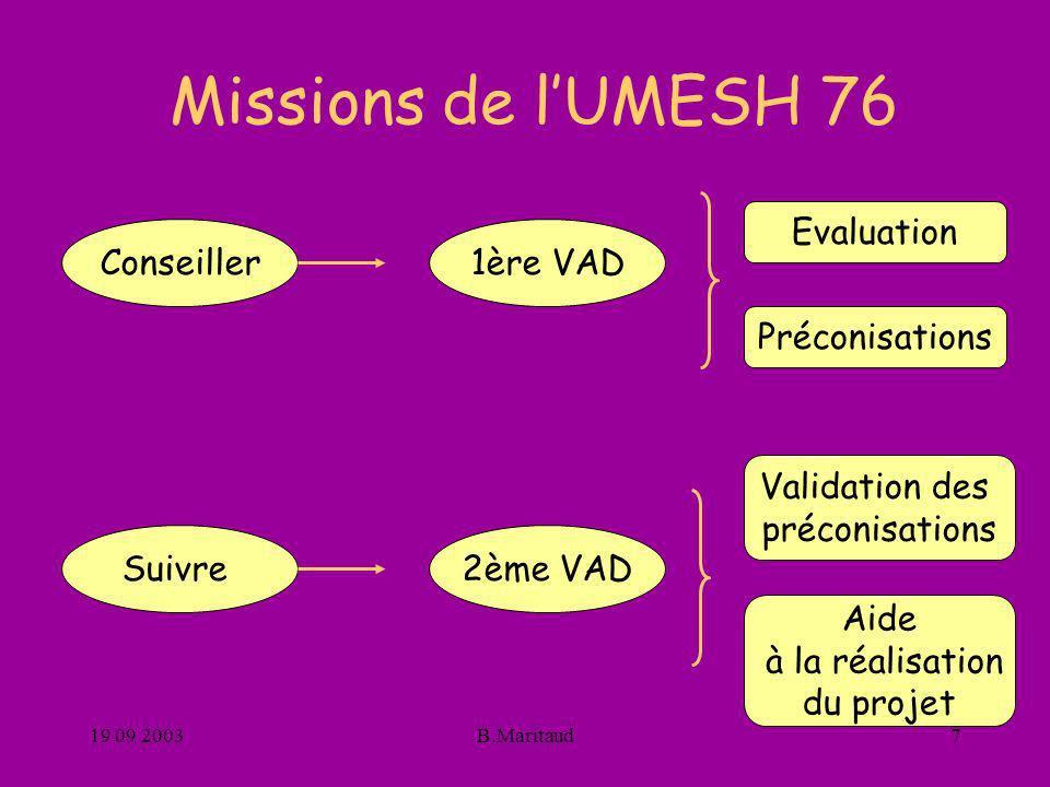 Missions de l'UMESH 76 Evaluation Conseiller 1ère VAD Préconisations