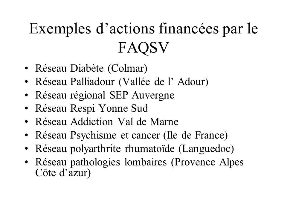 Exemples d'actions financées par le FAQSV
