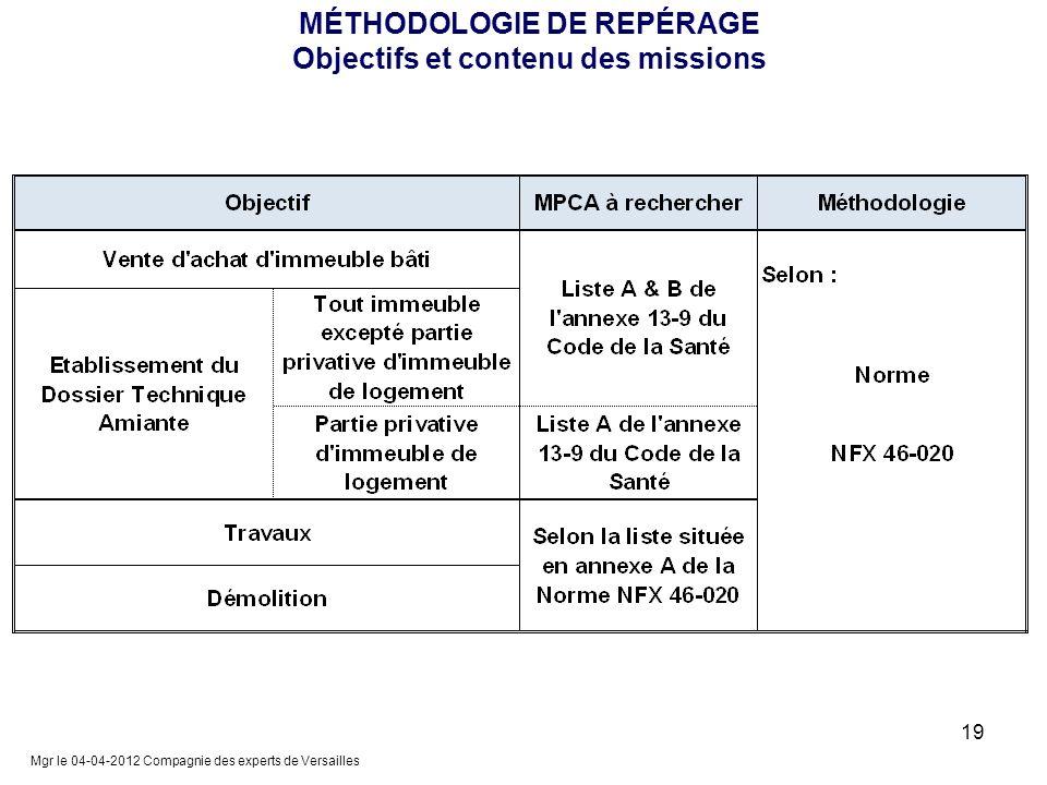 MÉTHODOLOGIE DE REPÉRAGE Objectifs et contenu des missions