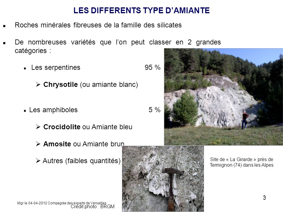 LES DIFFERENTS TYPE D'AMIANTE