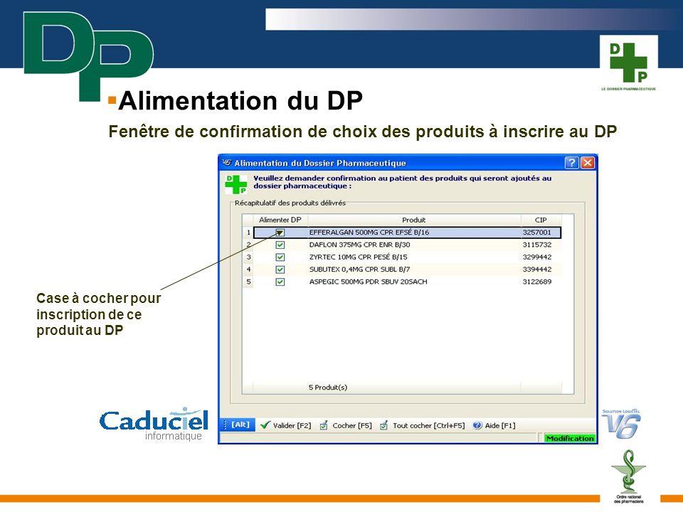 Alimentation du DP Fenêtre de confirmation de choix des produits à inscrire au DP.