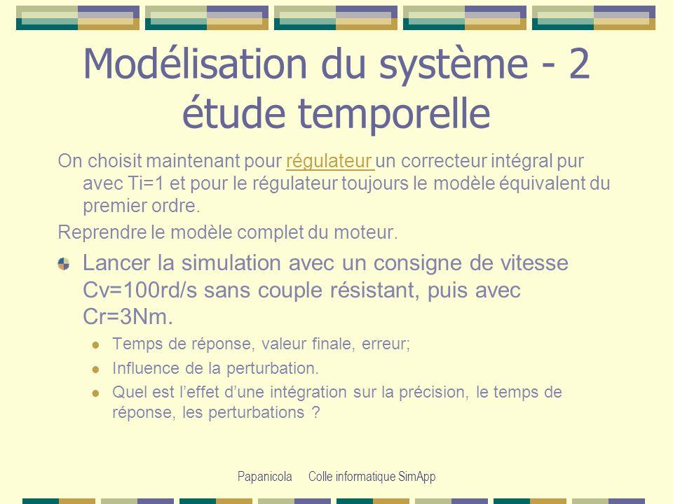 Modélisation du système - 2 étude temporelle