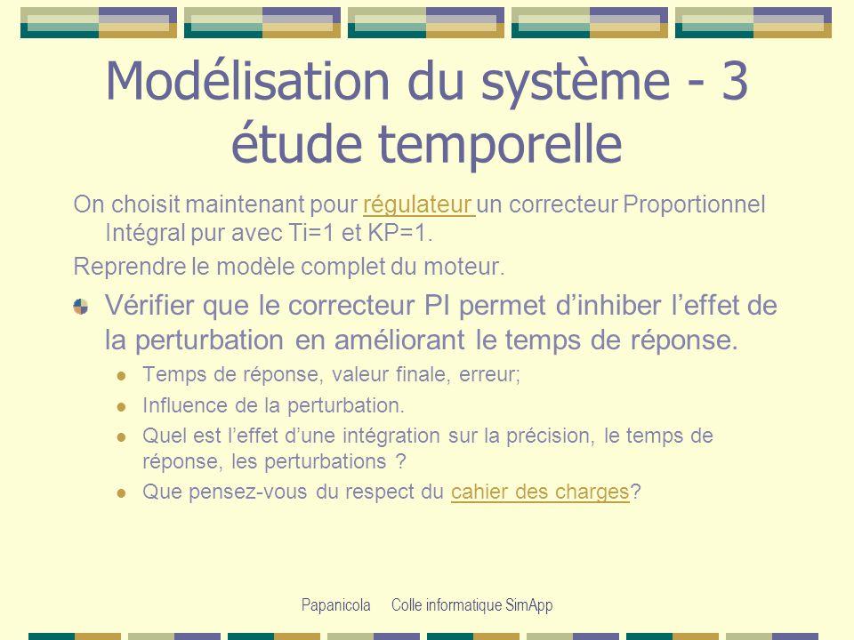 Modélisation du système - 3 étude temporelle