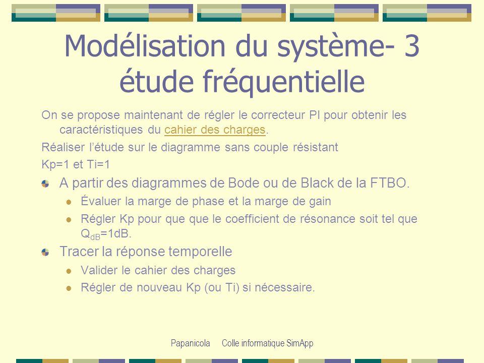 Modélisation du système- 3 étude fréquentielle