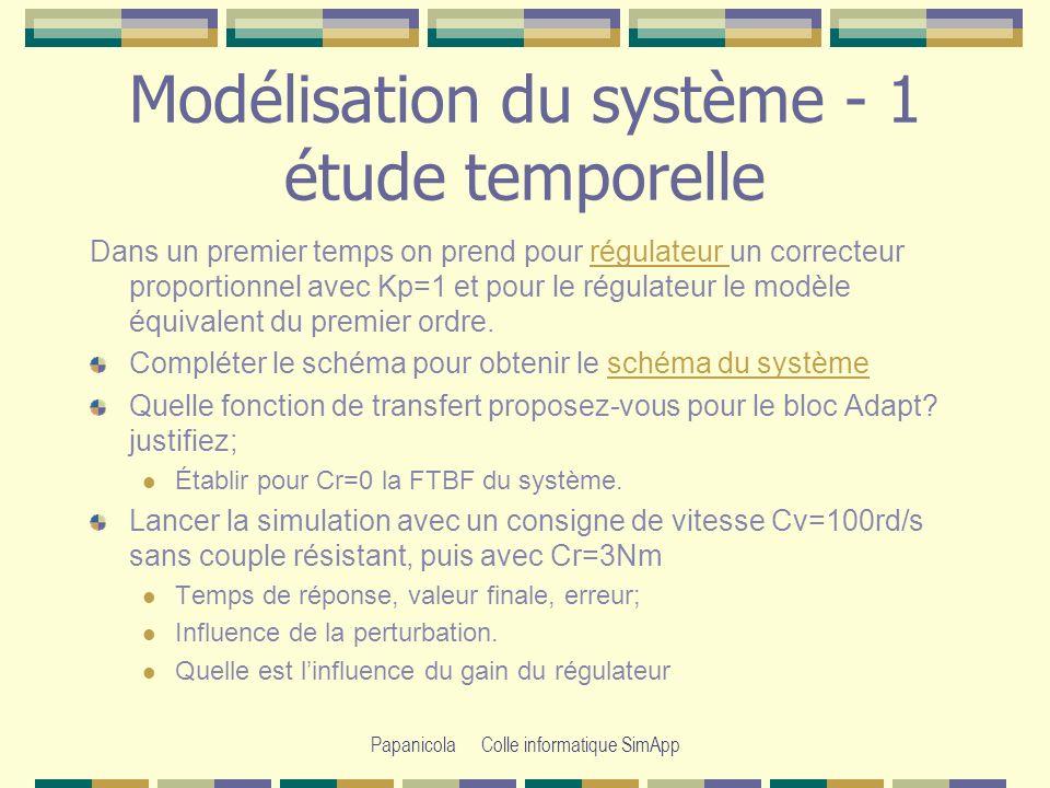 Modélisation du système - 1 étude temporelle