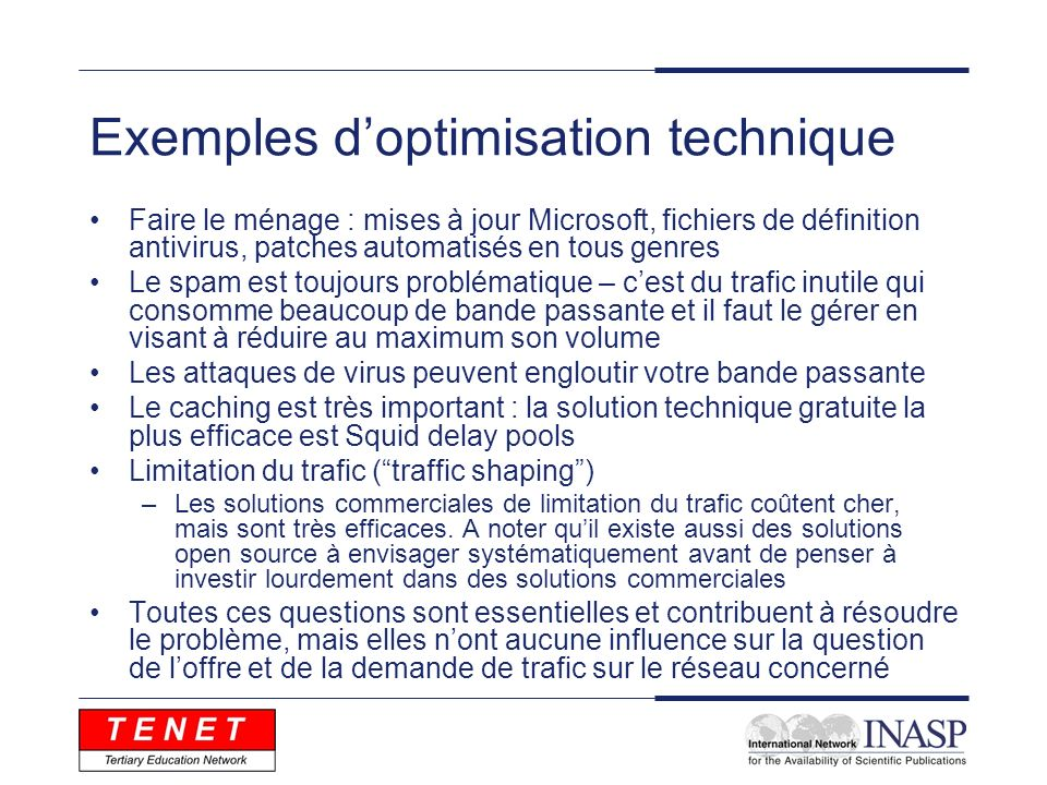Exemples d'optimisation technique