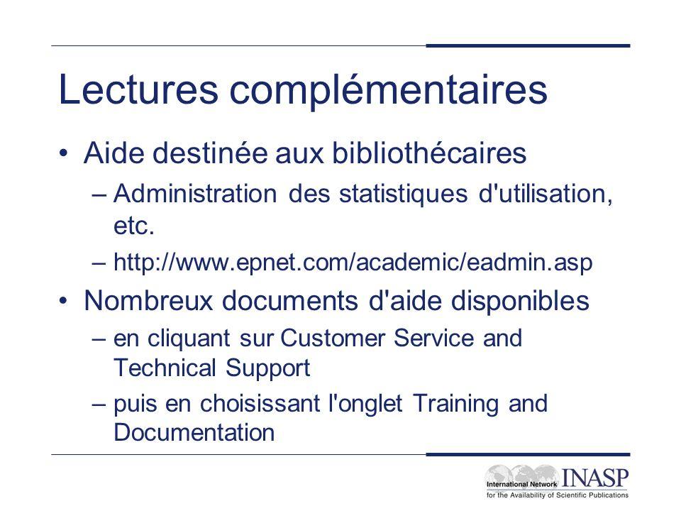 Lectures complémentaires