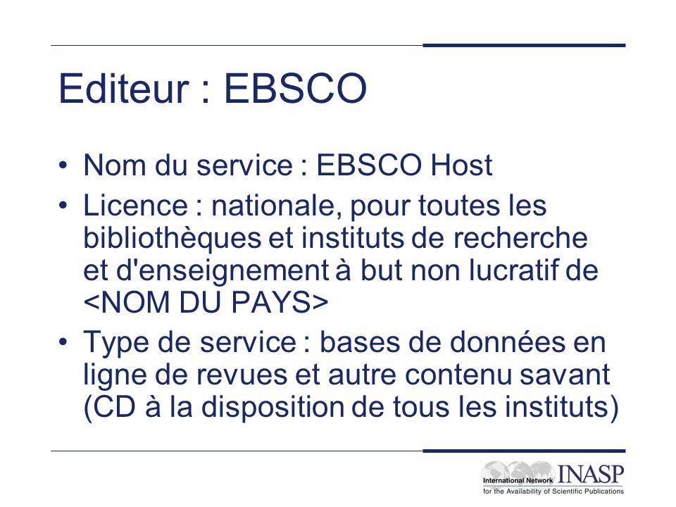 Editeur : EBSCO Nom du service : EBSCO Host
