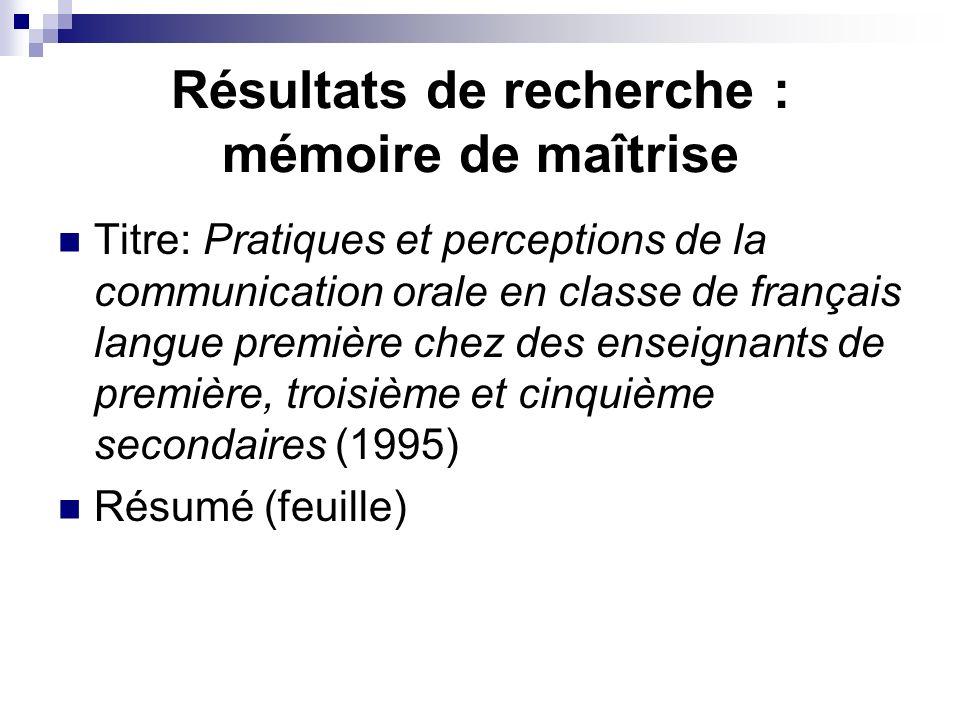 Résultats de recherche : mémoire de maîtrise