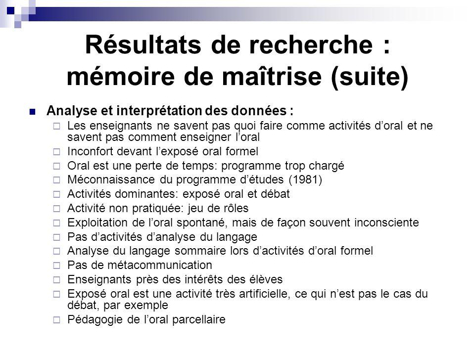 Résultats de recherche : mémoire de maîtrise (suite)