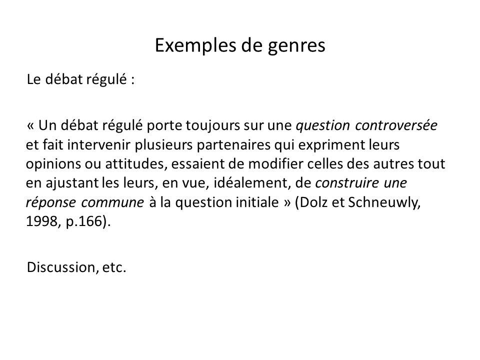 Exemples de genres Le débat régulé :