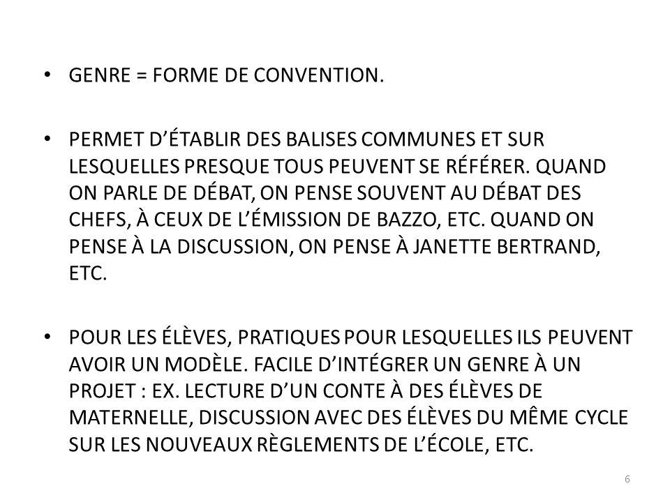 GENRE = FORME DE CONVENTION.