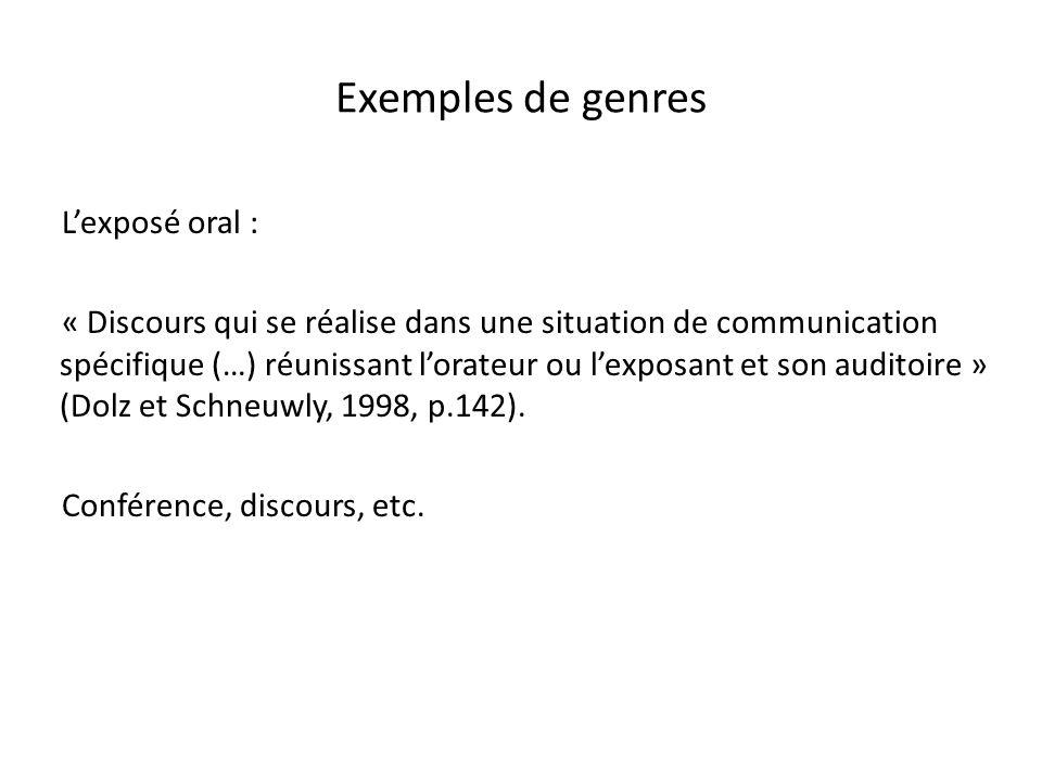 Exemples de genres L'exposé oral :