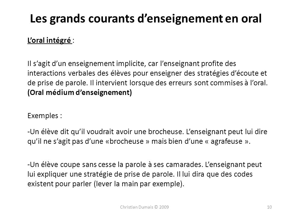 Les grands courants d'enseignement en oral