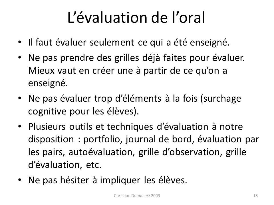 L'évaluation de l'oral