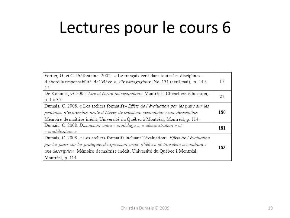 Lectures pour le cours 6