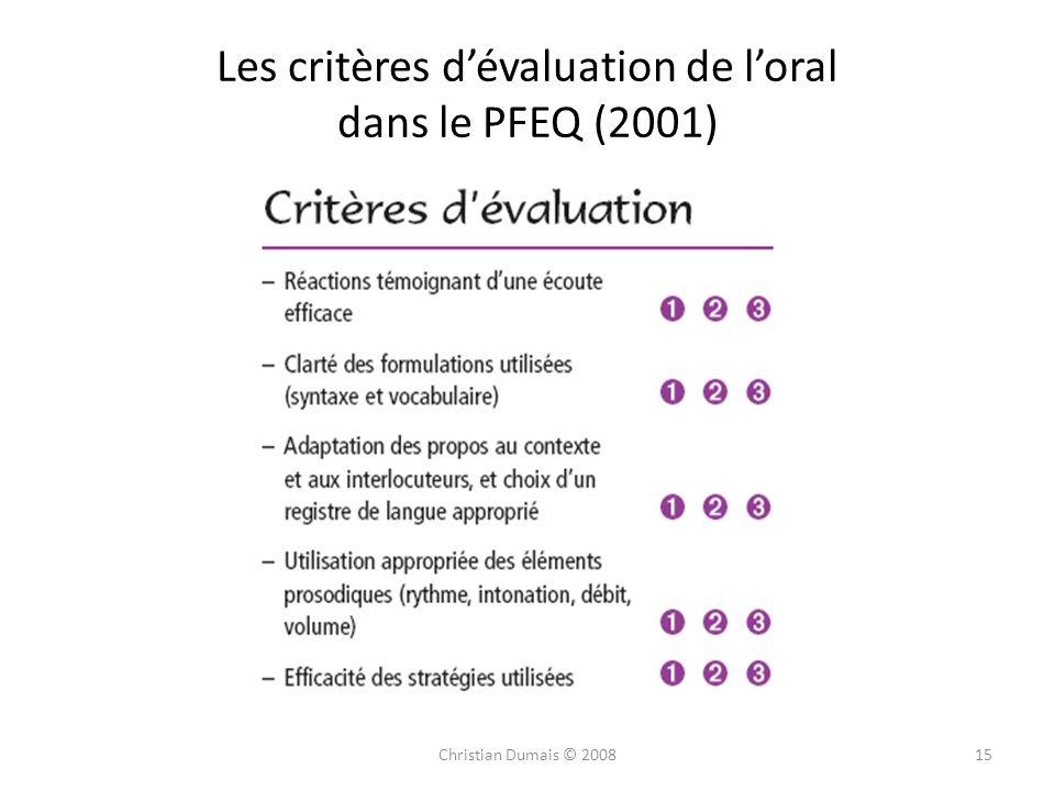 Les critères d'évaluation de l'oral