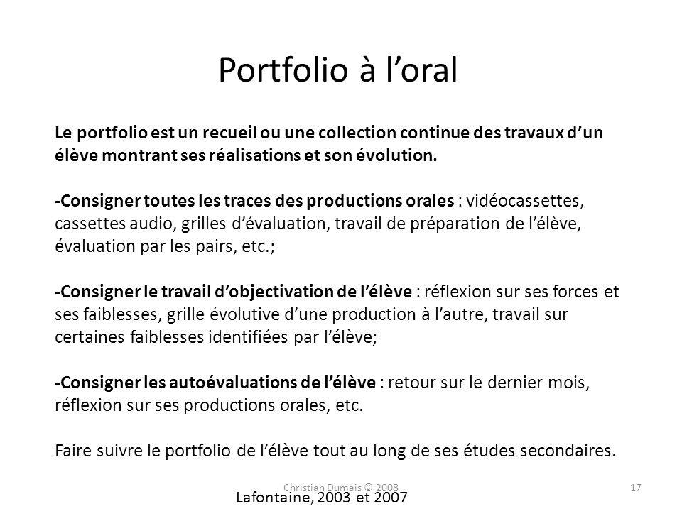 Portfolio à l'oralLe portfolio est un recueil ou une collection continue des travaux d'un élève montrant ses réalisations et son évolution.