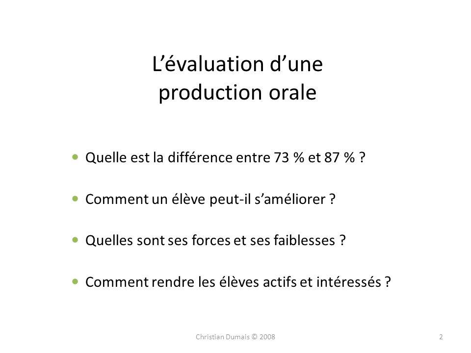 L'évaluation d'une production orale