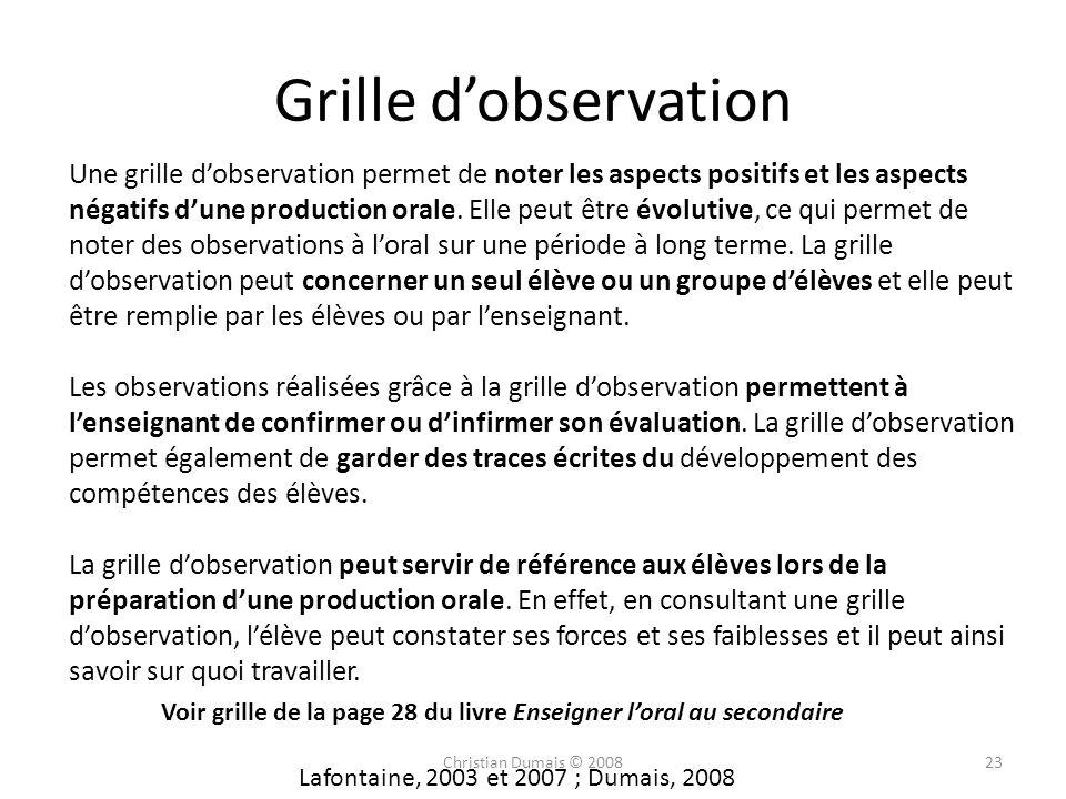 Grille d'observation