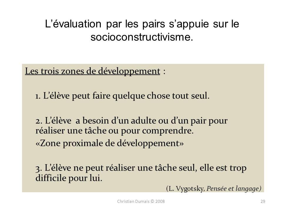 L'évaluation par les pairs s'appuie sur le socioconstructivisme.