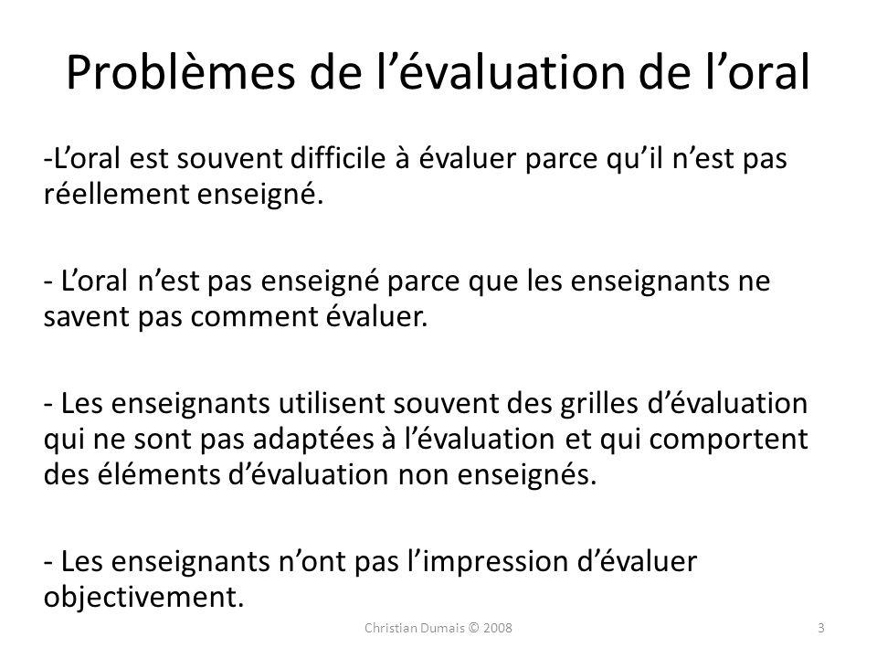 Problèmes de l'évaluation de l'oral