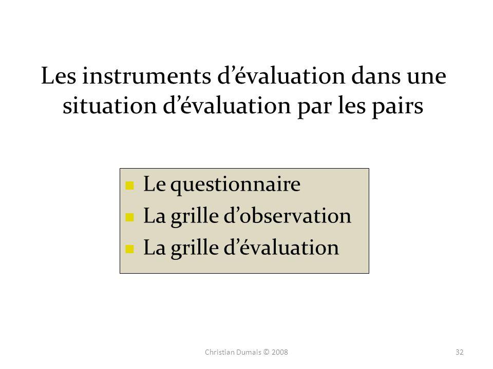 Les instruments d'évaluation dans une situation d'évaluation par les pairs