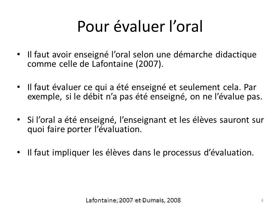 Pour évaluer l'oralIl faut avoir enseigné l'oral selon une démarche didactique comme celle de Lafontaine (2007).
