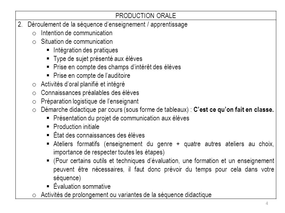 PRODUCTION ORALE 2. Déroulement de la séquence d'enseignement / apprentissage. Intention de communication.