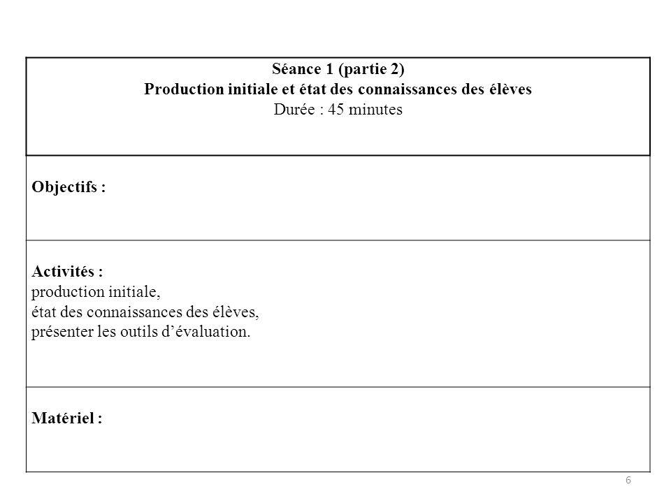 Production initiale et état des connaissances des élèves