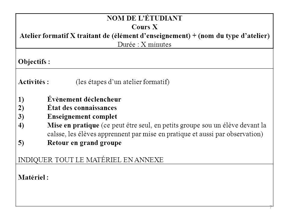 NOM DE L'ÉTUDIANT Cours X. Atelier formatif X traitant de (élément d'enseignement) + (nom du type d'atelier)